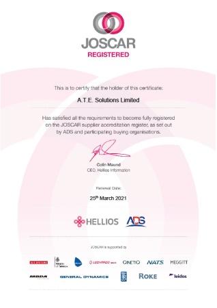 ATE Solutions JOSCAR certificate 2020